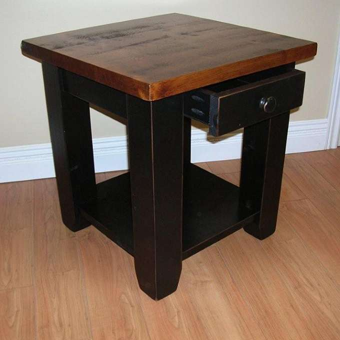 Rough Sawn Pine End Table