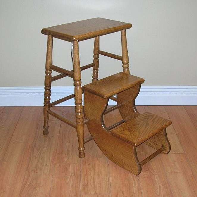 Solid Oak Folding Step Stool