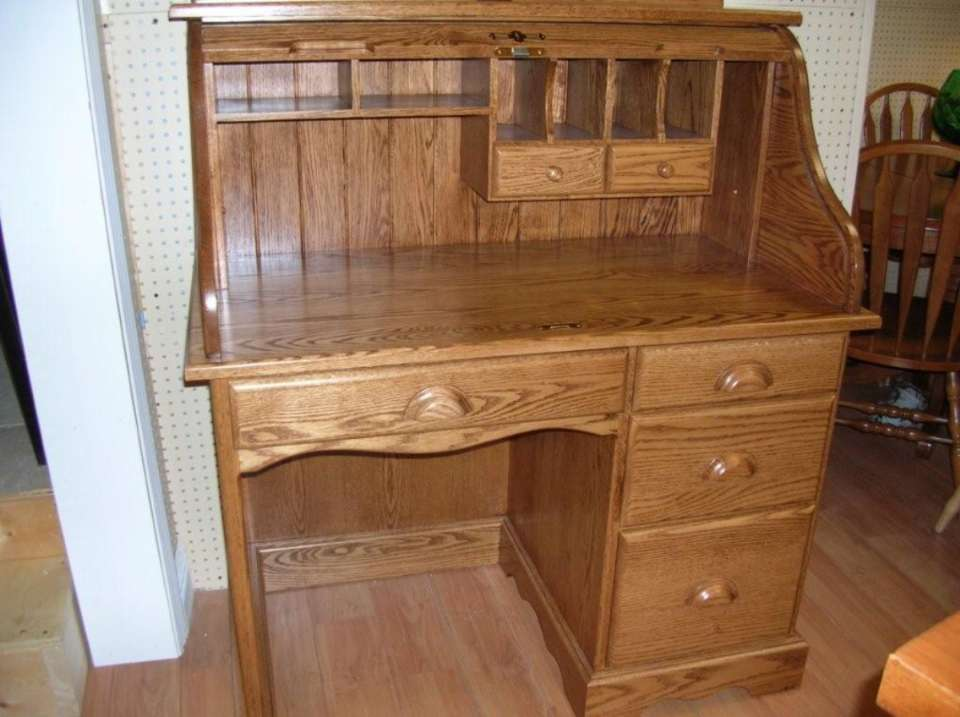 Solid Oak Single Pedestal Roll Top Desk