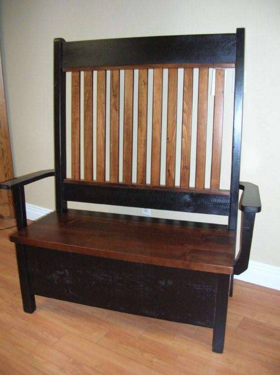 Pine Rough Sawn Hi-Back Storage Bench