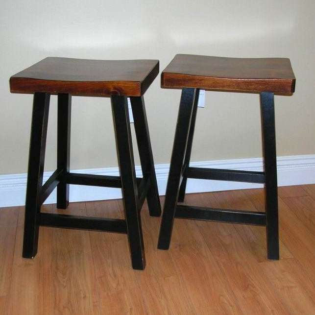 Rustic Pine Saddle Stools