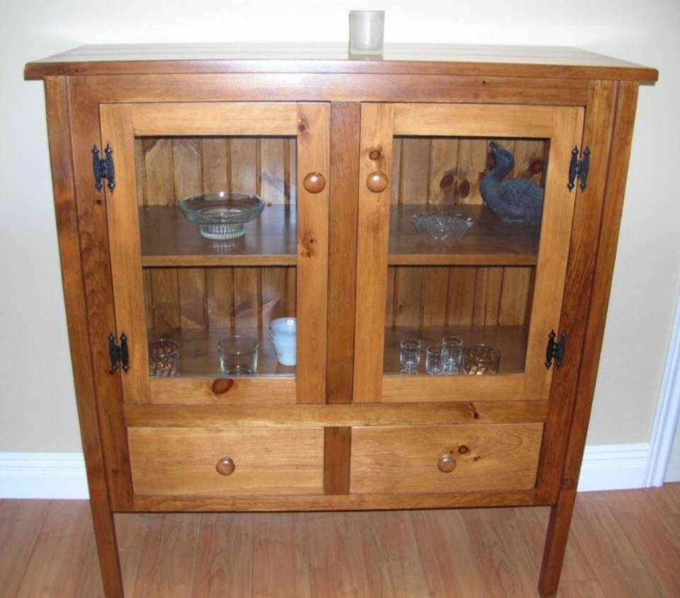 Rustic Pine Glass Door Sideboard