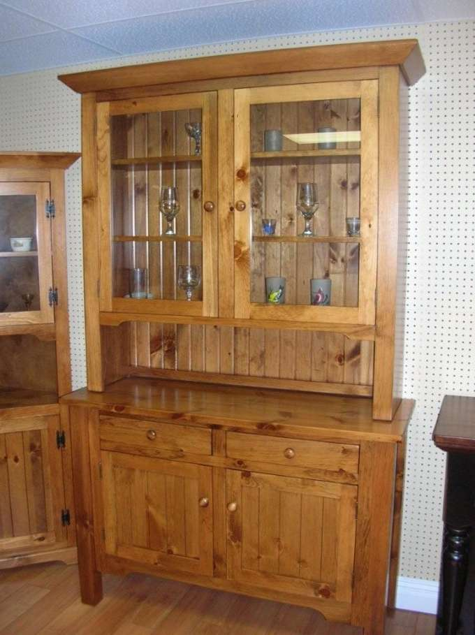 Rustic Pine Sideboard and Glass Door Hutc