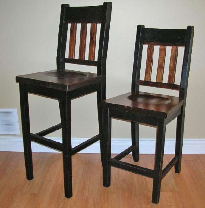 Rough Sawn Pine Slat Back Bar Chairs