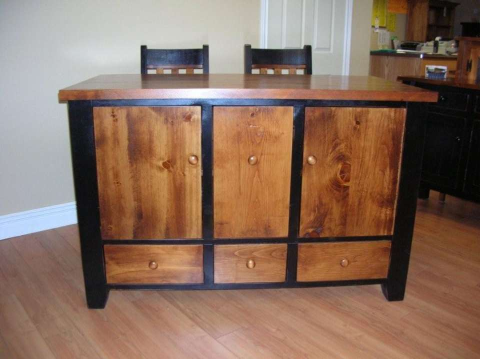 Rough Sawn Pine Kitchen Workstation-Island