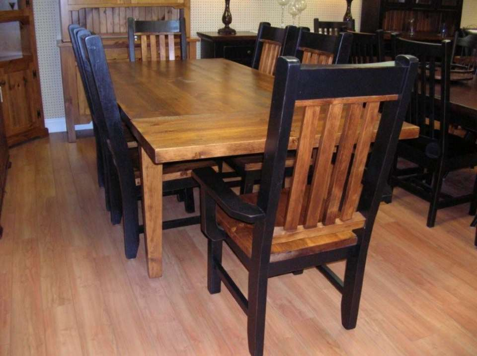 Rough Sawn Pine 7 Piece Table Set