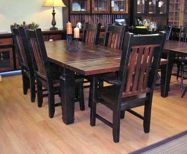 Paul Bunyan Rough Sawn Pine Harvest Table Set