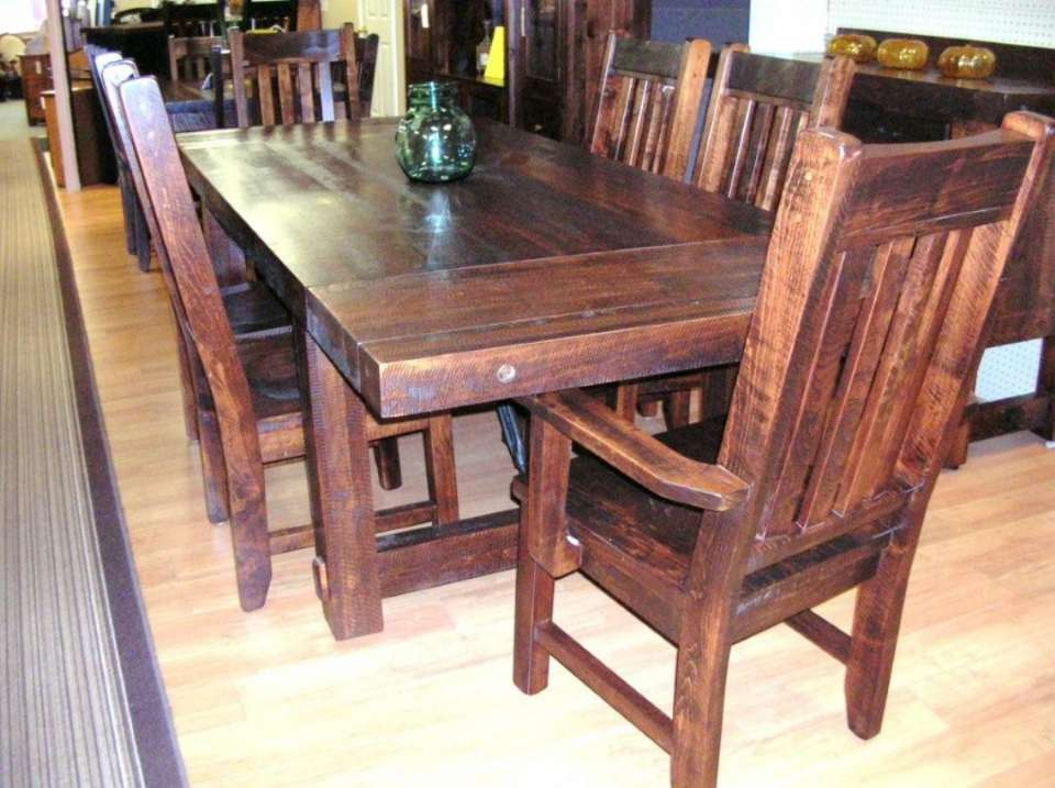 Rough Sawn Wormy Maple Yukon Turnbuckle 7 piece Table Set