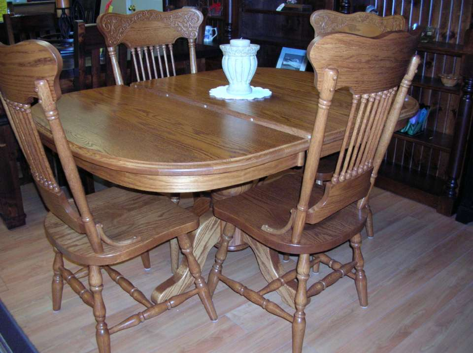 Solid Oak Single Pedestal 5 Piece Table set