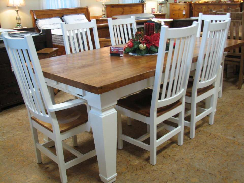 Country Home White Maple 7 Piece Harvest Table Set