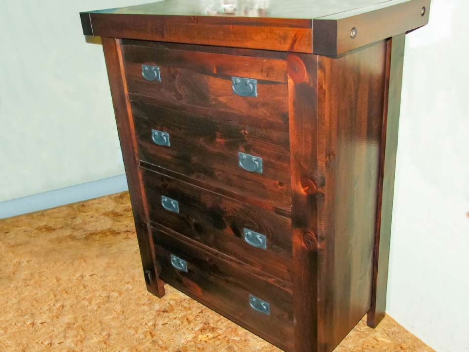 Pine Timber Yukon 4 Drawer HiBoy
